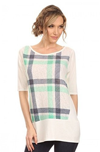Vision Womens Plaid Split Back Tunic Shirt (Green, X-Large) (Plaid Shirt With Split Back compare prices)