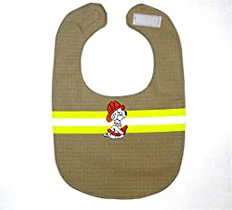 Firefighter Bunker Gear Baby Organic Cotton Bib Reflective Lime Ribbon
