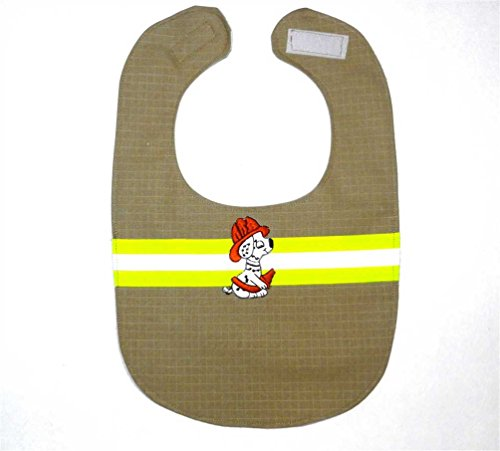 Firefighter Bunker Gear Baby Organic Cotton Bib Reflective Lime Ribbon