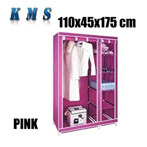 Large Double Pink Canvas Wardrobe Steel Frame Non-woven Fabric Cover Portable Storage Furniture with Shelves and Manual