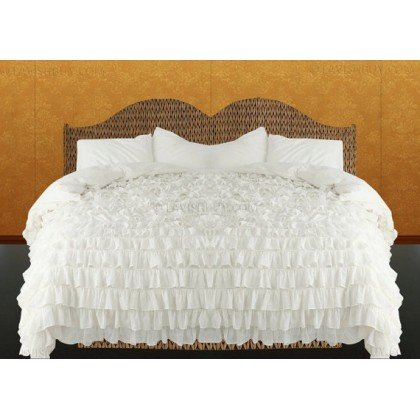 Soft & Comfort 600 Threadcount 3 Peice Twin Size Waterfall Ruffle Duvet Set In Solid White By Egyptiancottonstore front-961541