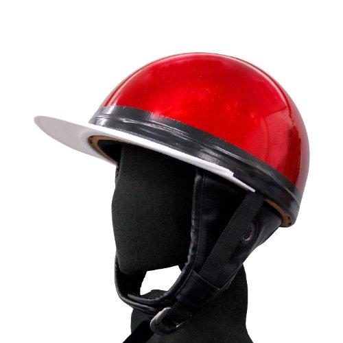 [ バイクパーツセンター ] ヘルメット コルク半 三つボタン レッドラメ KC-029LB [ サイズ ] 57~60cm未満 [ 品番 ] 701001