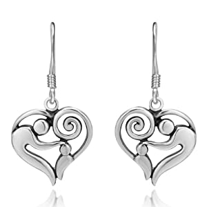 925 Sterling Silver Heart-Shaped Mother and Child Earrings, Gift for Mom Love Mom, Mother's day gift Jewelry for Women- Nickel Free by Chuvora