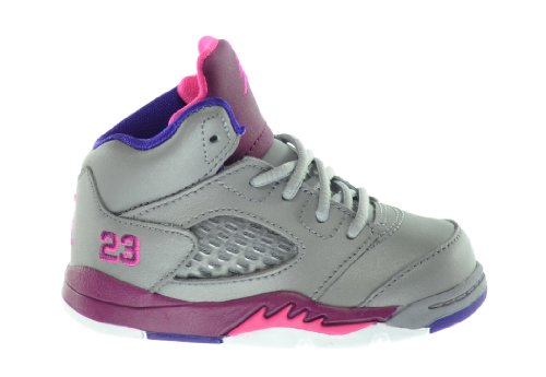 Jordan 5 Retro Baby Toddlers Basketball Shoes Cement Grey/Pink/Raspberry Red 440890-009-6