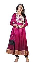 TheEmpire Women's Pink Anarkali Stlye Semi-stitched Designer Salwar Suit in Linen and Art Silk Fabric