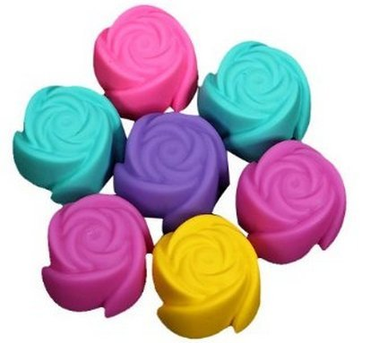 Allforhome Silicone Rose Chocolate Cupcake Muffin Mold Jelly Maker Baking Mould (Pack 7Pcs)