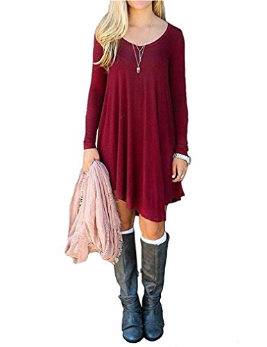 Nacy Women's Long Sleeve Swing Loose Flowy Casual Tunic Shirt Mini Dress Wine Red L