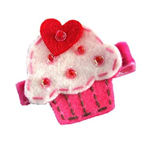 Hot Pink and White Felt Cupcake with Red Heart No Slip Hair Clip