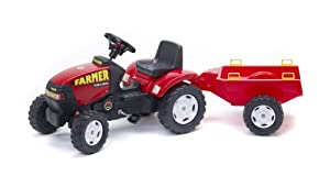 Falk 975A - Tractor a pedales con remolque, color rojo