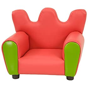 Kids Chair and Seating - Red and Green Vinyl Upholstered Kid's Arm Chair - KG-BK06-S073-GG