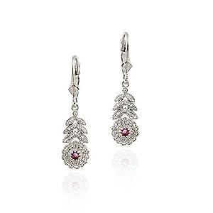 Sterling Silver Ruby & Diamond Flower w/ Leaves Leverback Earrings