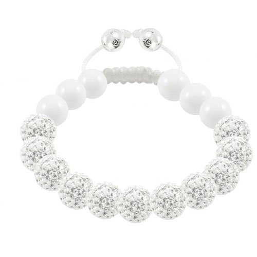 Aurillac - Tresor Paris Bracelet - Black Diamond set in Silver, White Crystal  &  Ceramic - Ladies