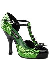 T-Strap Sassy Green Glitter Pumps