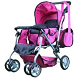 Mommy & Me TWIN Doll Pram Back to Back with Swiveling Wheels & Free Carriage Bag - 9668