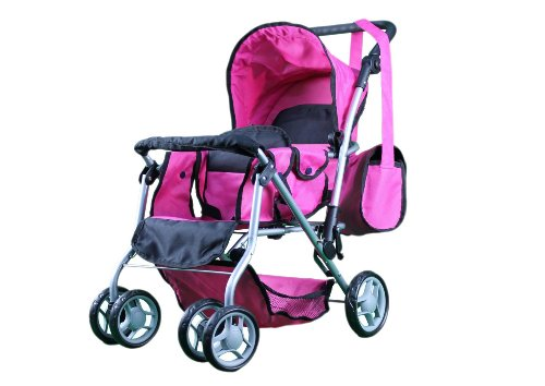 Mommy & Me Twin Doll Pram Back To Back With Swiveling Wheels & Free Carriage Bag - 9668 front-589045