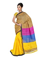 Indian Designer Wear Linen Silk Yellow Printed Saree