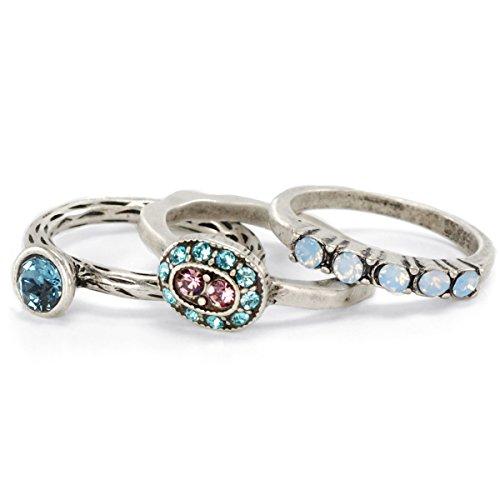 Set-of-3-Reflection-Stack-Rings-Gypsy-Rings-Silver-Swarovski-Rings-Silver-Stacking-Rings-Stacking-Rings-Ring-Set-Boho-Rings-Pastel-Ring