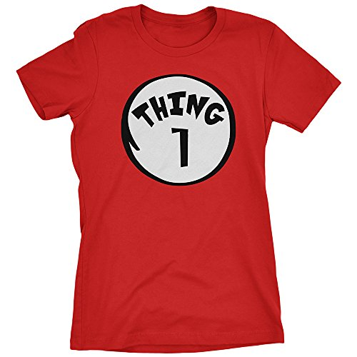 [Thing 1 Women's T-shirt Funny Halloween Costume Xmas Humor 1 2 Dad Mom Shirt Red Small] (Mom Dad And Child Halloween Costumes)