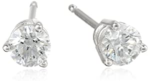 18k White Gold Round-Cut Basket Setting 3-Prong Diamond Studs (1/2 cttw, G-H Color, SI1-SI2 Clarity)