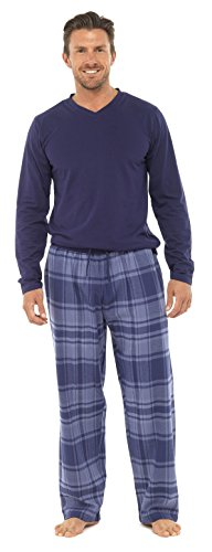 Tom Franks Men'S Jersey Cotton Rich Warm Winter Pajama Set (2Xl) Navy