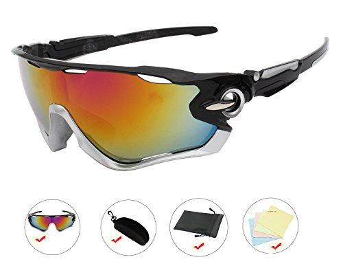 AikeSweet Uomini Sport Occhiali Outdoor Occhiali Ciclismo Occhiali da sole UV400 (Nero Telaio Rosso lente)