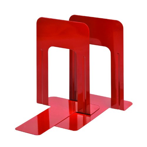 STEELMASTER Deluxe Steel 9-Inch Bookends, 1 Pair, Vibrant Red (244009107)