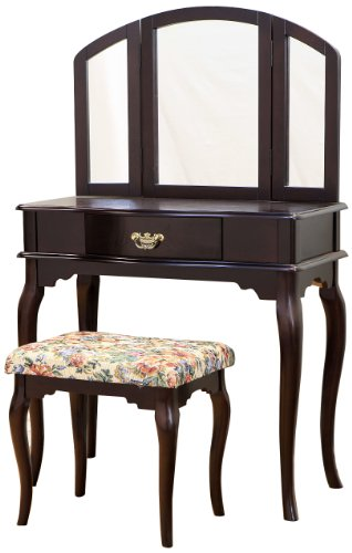 Frenchi Home Furnishing Queen Anne Style 3-Piece Vanity Set w/stool, Espresso Finish
