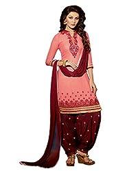 Peach colour embroidered georgette fabric semi stich patiyala salwar dress material
