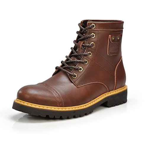 Xr3177Kafei44 Men'S Leather Engineer Combat Boot Coffee Us 11