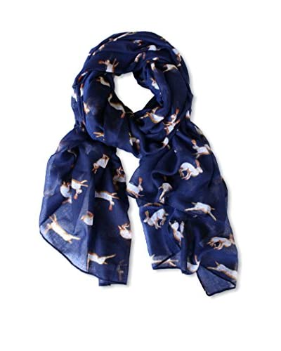 Printed Village Women's Rabbit Scarf, Blue
