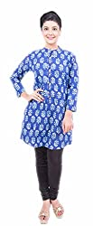 Krivi Fashion Cotton 3/4 Sleeve Blue and White Casual Printed Round Nack Women's Kurti