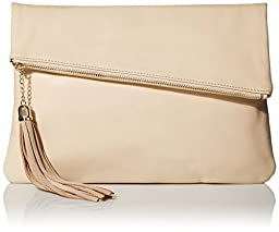 MG Collection Snakeskin Foldover Clutch, Soft Cream, One Size