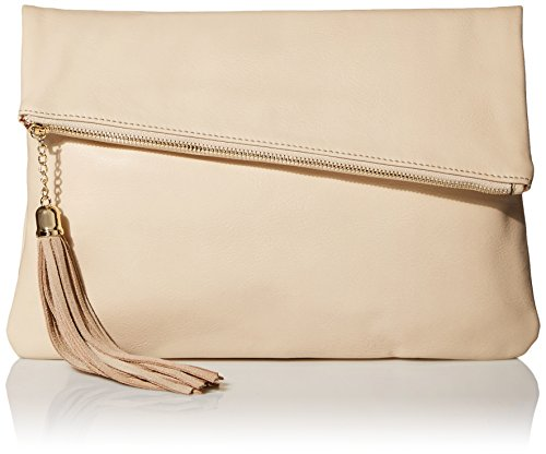 MG Collection Snakeskin Foldover Clutch, Soft Cream, One Size (Cream Clutch compare prices)