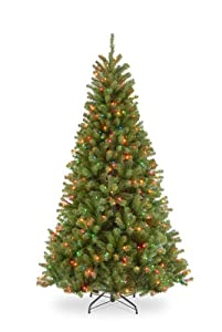 #!Cheap 7 1/2' North Valley Spruce Hinged Tree with 550 Multi Lights