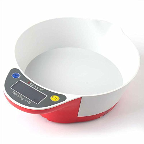 Digital Lcd Display Screen Electronic Bowl Kitchen Scale Precision Food Weight Weighing Meter Scale 5Kg/1G Red