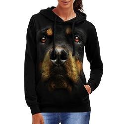 Wellcoda | Rottweiler Dog Rottie Womens Big Face Black Hoodie S-2XL