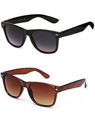 KART Black And Brown Wayfarers Sunglasses Set Of 2 Combo