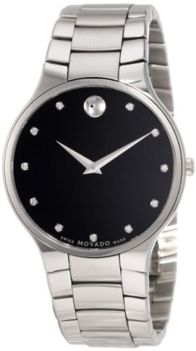 MOVADO Watch:Movado Men's 0606490 Serio Stainless Steel Black Diamond Marker Museum Dial Watch Images