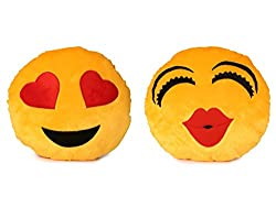 Deals India Heart Eyes Smiley and Kiss smiley Cushion - 35 cm(smiley1&3)Set of 2