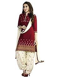 Khushali Presents Straight Dress Material(Red,Cream)