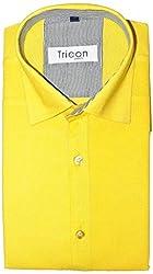 Tricon Men's Slim Fit Blended Plain Shirt (SS111_Yellow_X-Large)