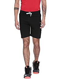 BALISTA MEN BLACK SLIM FIT SPORTS SHORTS WITH ZIPPER POCKETS