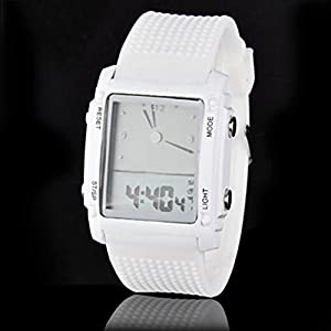 Luxury All Match Digital Mens Womens LED Light Sport Wrist Watch Gift White