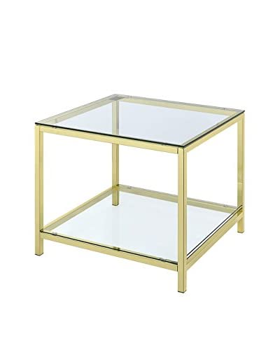 Hansen Two Tier Side Table, Gold Body/Glass