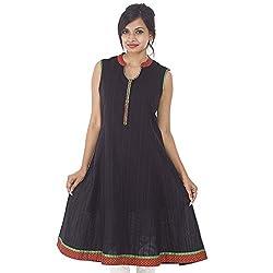 Parinita Women Black Cotton Solid Dobby Long Kurti_L