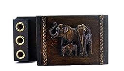 Holder Pen Desk Set Wood Base Handmade Elephant Figurine Home Decor Gift