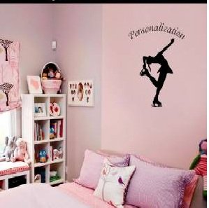 Customer-made Personalised Figure Skating Wall Art Sticker Kids Decor-you Choose Name and Color