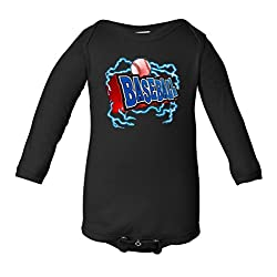 3D Baseball Type Infant Long Sleeve Bodysuit