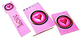 Hearts, a Love Bookmark, Notepad and a 4 X 6 Magnet, with a Three Dimension Pink Heart on All Three, Set of Three, Standard Magnet
