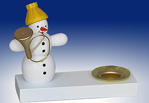 Kerzenhalter-Schneemann-m-Tuba-Weihnachten-Deko-Volkskunst-Seiffen-7cm-Erzgebirge-NEU